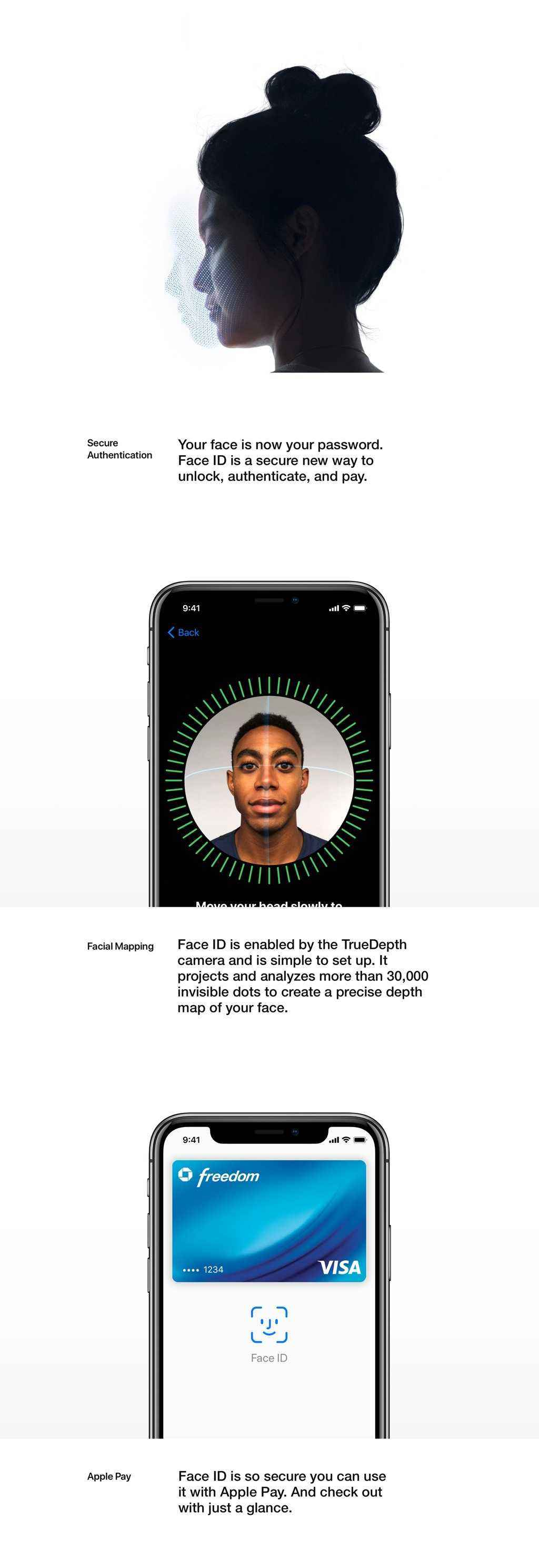 Your face is now your password. Face ID is secure new way to unlock, authenticate, and pay.