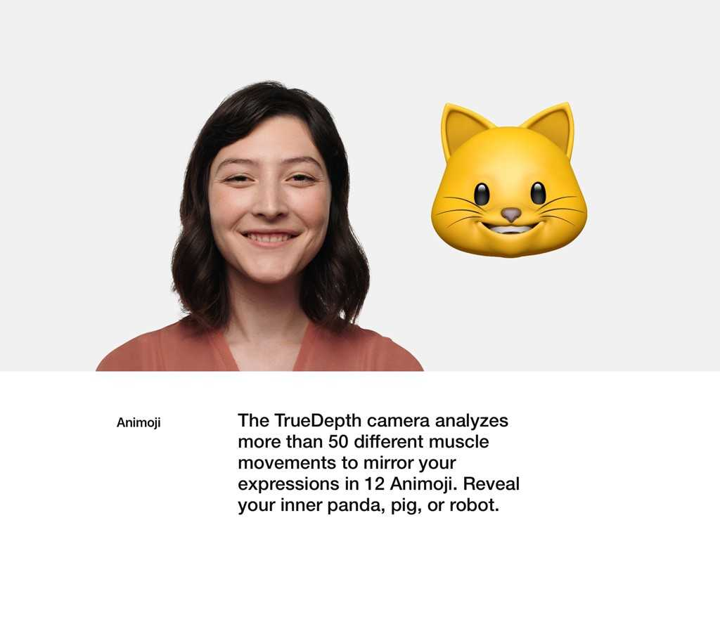 The TrueDepth camera analyzes more than 50 different muscle movements to mirror your expressions in 12 Animoji.