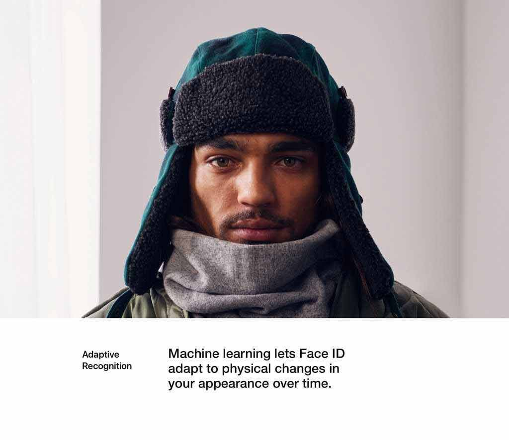 Machine learning lets Face ID adapt to physical changes in your appearance over time.