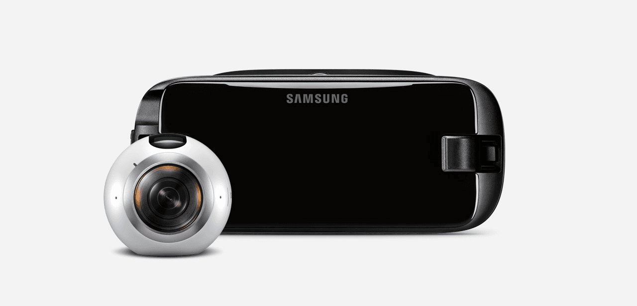 Samsung VR headset and Samsung Gear 360 on a light gray background