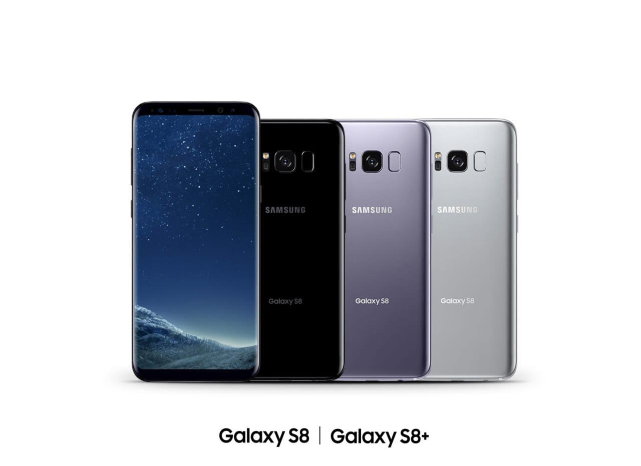 Galaxy S8+ with three Galaxy S8 phones facing backwards