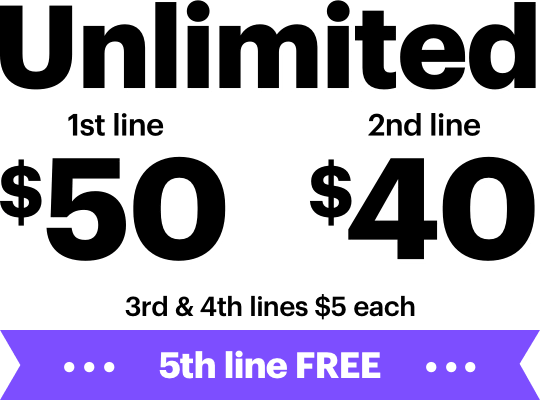 Unlimited. 1st line $50. 2nd line $40. 3rd & 4th lines $5 each. 5th line FREE.
