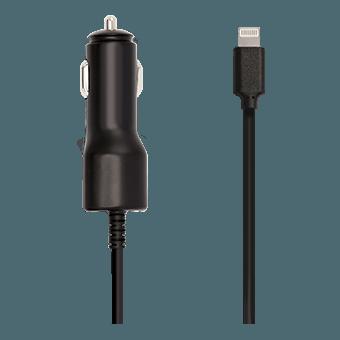 Foto de cargador para auto doble KEY 3.4A c/cable 1M Lightning (negro)