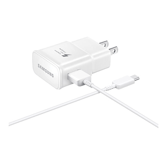 Foto del adaptador de viaje de carga rápida Samsung con cable USB-C