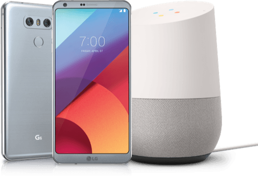 Image of LG G6 and Google Home.