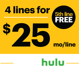 4 lines for $25 a month per line. 5th line FREE.