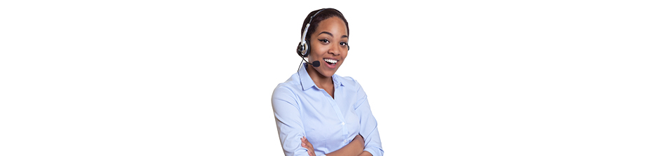 Image of a woman smiling wearing a headset and a microphone near her mouth – represent as a Customer Service.