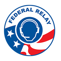 Image of Federal Relay logo – circle logo with contrast graphic face of an operator wearing headset with microphone. On bottom half of the circle is a America flag symbol (white stars against blue background and white and red stripes).
