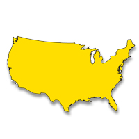 Image of solid yellow USA map represents Sprint Relay Services offers national relay calls.