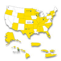 Image of USA map –showing more 30 states in yellow that offers Relay Service managed by Sprint Accessibility. White states are offered by other providers.