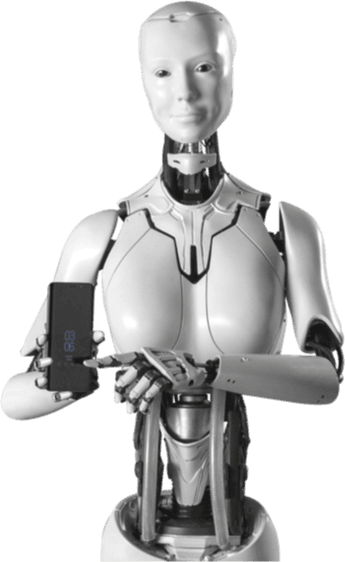 Robot holding phone