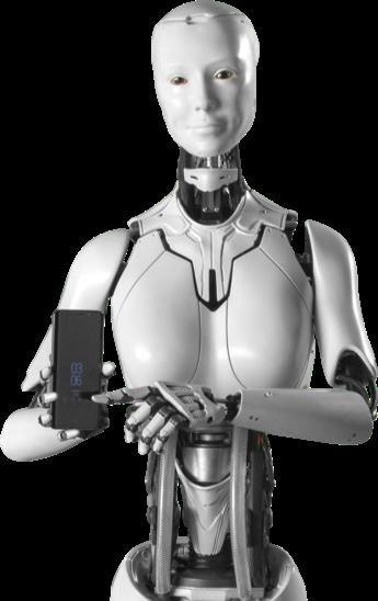 Robot sosteniendo un teléfono