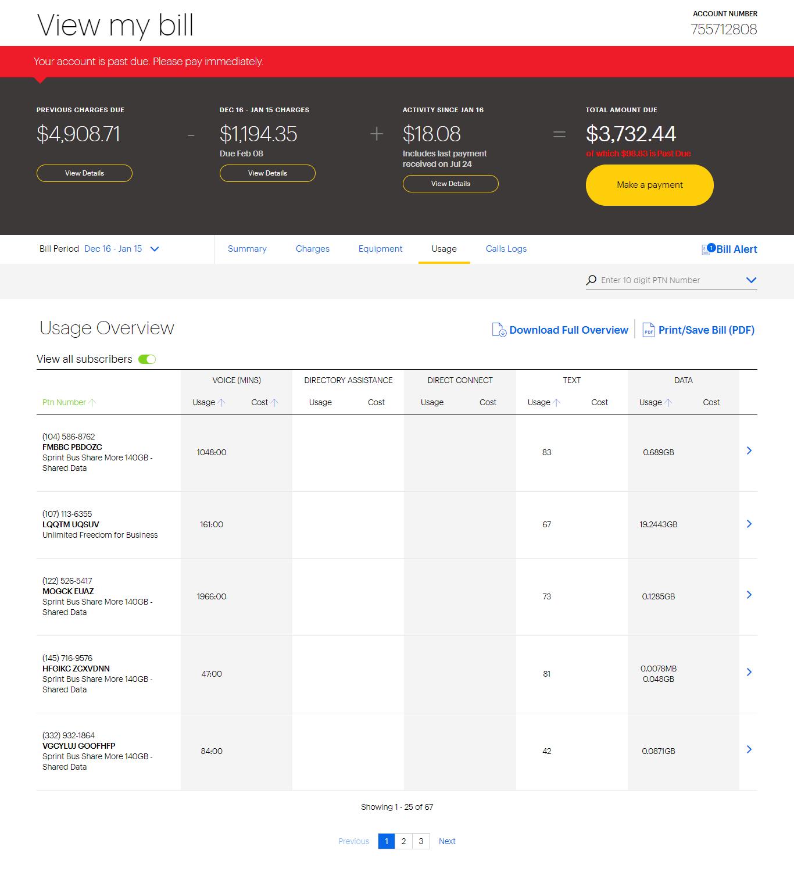 Sprint Business Tutorial: Online Bill