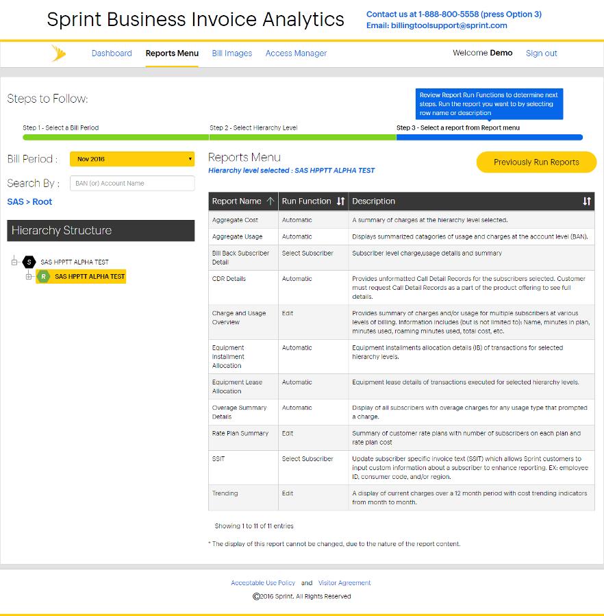 Sprint Business Invoice Analytics Tutorial Sprint Support