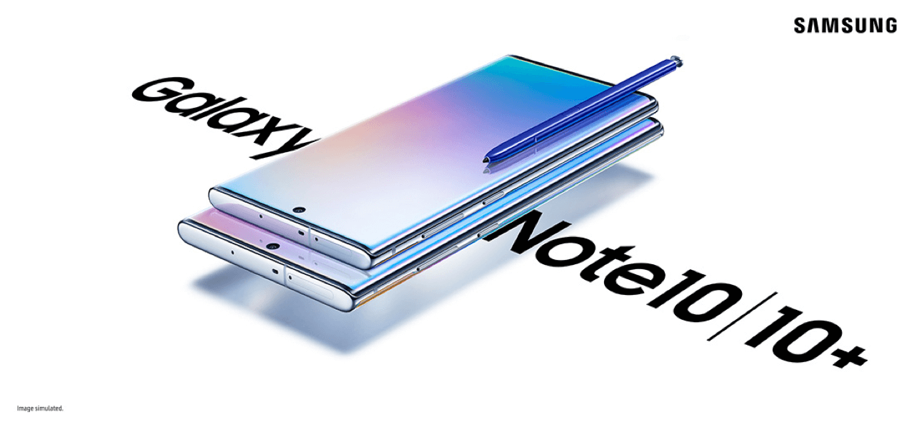 Samsung Galaxy Note 10 and 10 Plus (image simulated)