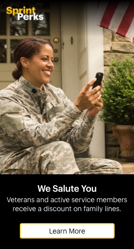 We salute you. Veterans and active service members receive a discount on family lines. Learn more.