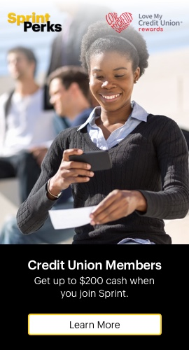 Love my credit union rewards. Credit union members, Get up to $200 cash when you join Sprint. Learn more.