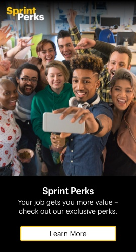 Sprint Perks: Your job get more value - check out our exclusive perks. Learn more.