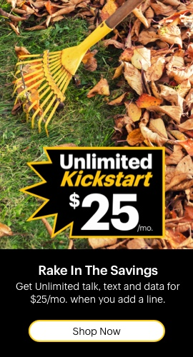 Rake in the savings. Get Unlimited talk, text and data for 25 dollars per month when you add a line.