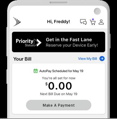 Teléfono con el banner de Priority Status