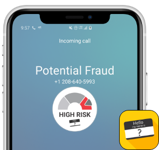T-Mobile identifica a las llamadas entrantes como posiblemente fraudulentas.