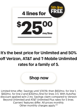 Unlimited 4 lines for $22.50 mo/line. 5th line FREE
